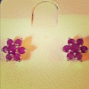 Vintage Sterling Silver, Ruby Flower Studs. NEW